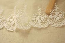 off White embroidered gauze lace, antique lace trim, vintage scalloped trim lace, 2 yards scallop trim lace embroidered kimono