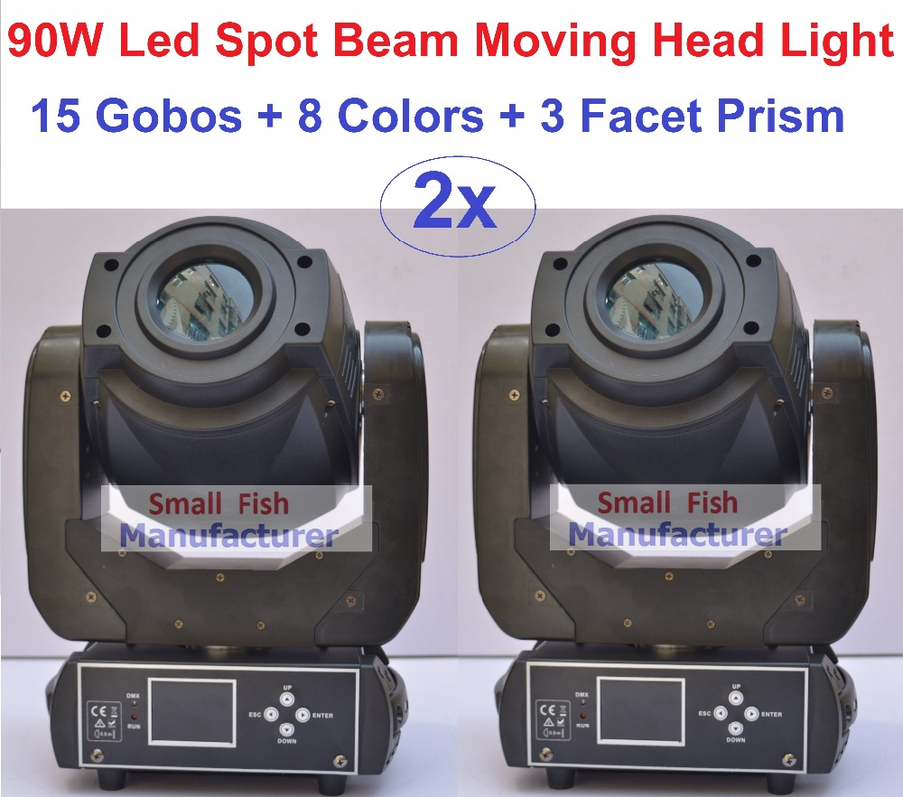2xLot Factory Price 90W Beam Spot LED Moving Head Lights Professional Stage Lighting 15 Gobos Strobe Disco DJ DMX Equipment 8pcs lot free shipping best lighting led moving head spot led 90w moving heads factory price