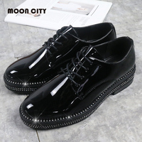 New Classic Fashion women oxford shoes Women'S Flats Patent Leather loafers moccasins Lady'S Flats Casual Crystal Shoes Women