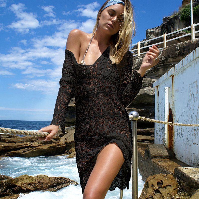 11c74c46953aa 2019 Beach Wear Tunic Beach Cover Up Deep V Women Swimsuit Flower Women  Crochet Dress Bathing Suit Saida De Praia Cover Bikini