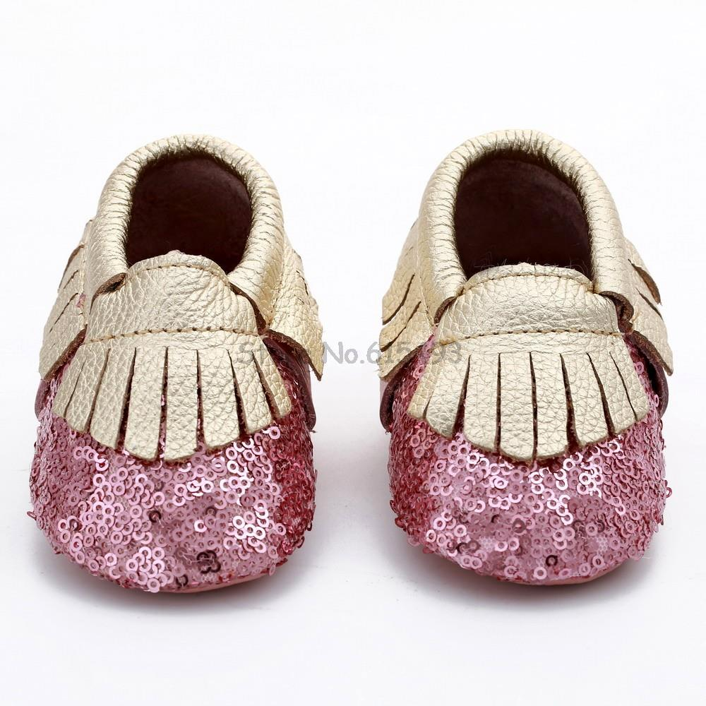 New 2017 Handmade Tassel Bling Sequins Girl Baby Shoes Leather Moccasins Baby Casual Shoes Baby Toddler Shoes First Walkers