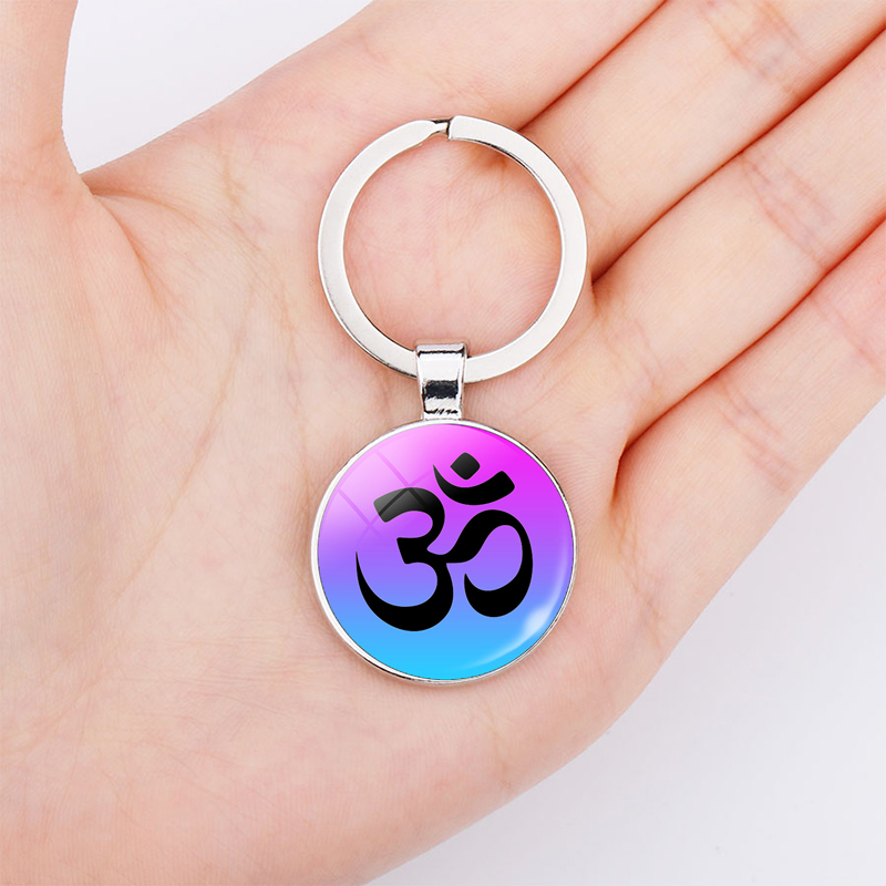 Om Yoga Buddha Symbol Double Face Stainless Steel Key Chain Glas Dome Keychain Women Men Fashion Indian Jewelry Bag Pendant