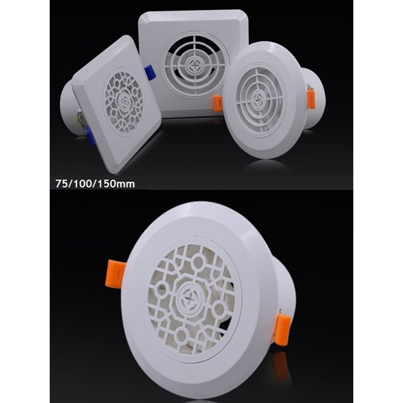 Plastic ABS White Air Vent Grille Spring Click On Adjustable Air Conditioner Ceiling Ventilation Square Round 3