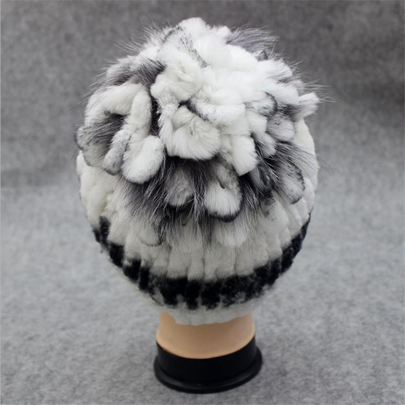 Women Winter Plus Size Striped 100% Rabbit Fur bomber Hats Female Autumn Protection Ear Thick Stretch hats lady fall Warm Caps