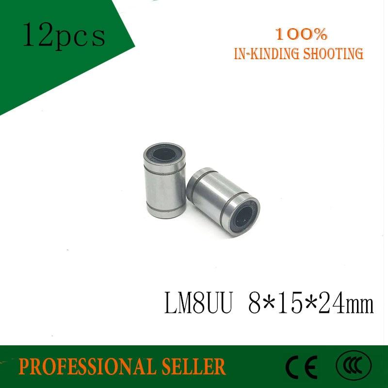 Free Shipping 12pcs\lot LM8UU LM8 UU 8X15X24mm Linear Ball Bearings Linear Bearing 8mm 3d Printer For Cnc Parts  Rail