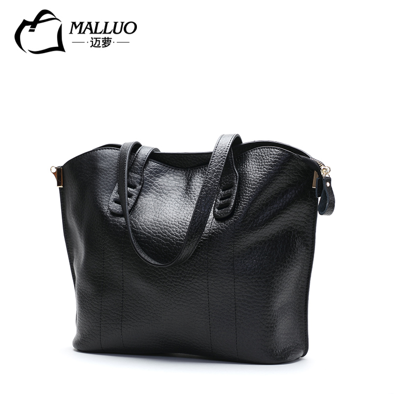 MALLUO Genuine Cow Leather Polyester Soft Leather Tote Handbag Shoulder Bags Big Bag Women Messenger Bag Simple Wild Leather Bag wireless pager system 433 92mhz wireless restaurant table buzzer with monitor and watch receiver 3 display 42 call button
