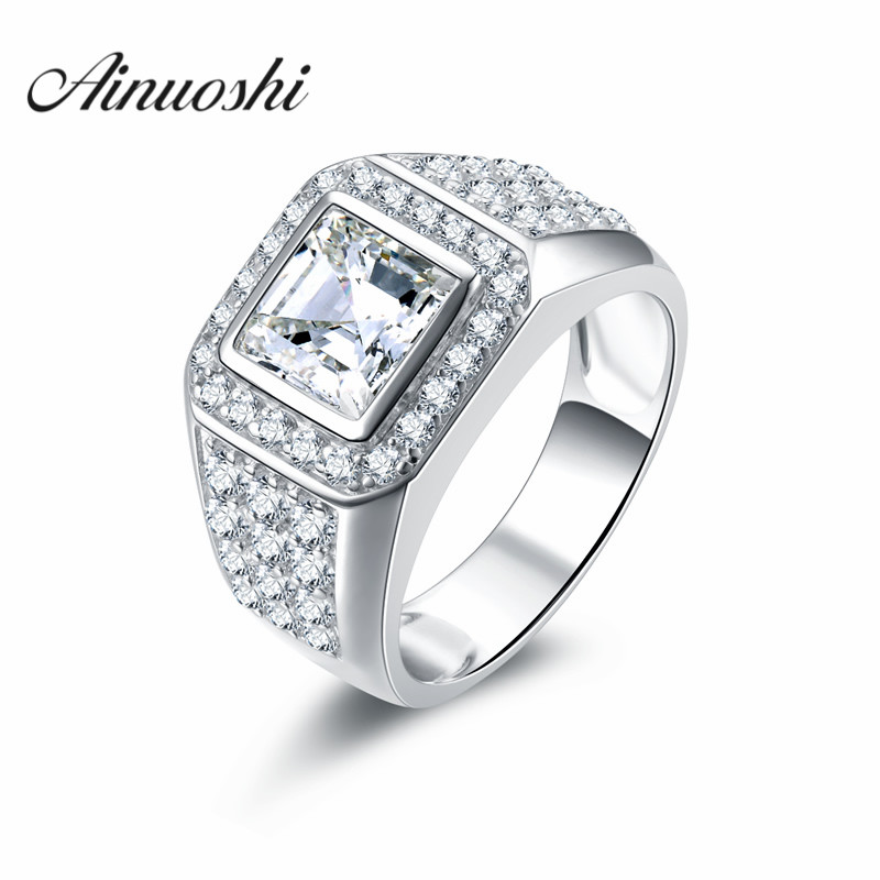 AINOUSHI Victoria Wieck Handsome Jewelry Antique Men 925 Sterling Silver Princess Cut SONA Wedding Ring