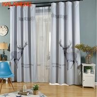Animal Deer Boy Living Room Curtains Custom Made Bedroom Children Kid Gray Chinese Japan String Curtain 150cm*270cm 2018 WB0038