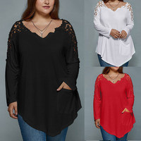 Plus Size Fashion Summer Lady Lace Women Girls Long Sleeve T Shirt Casual Top V Neck