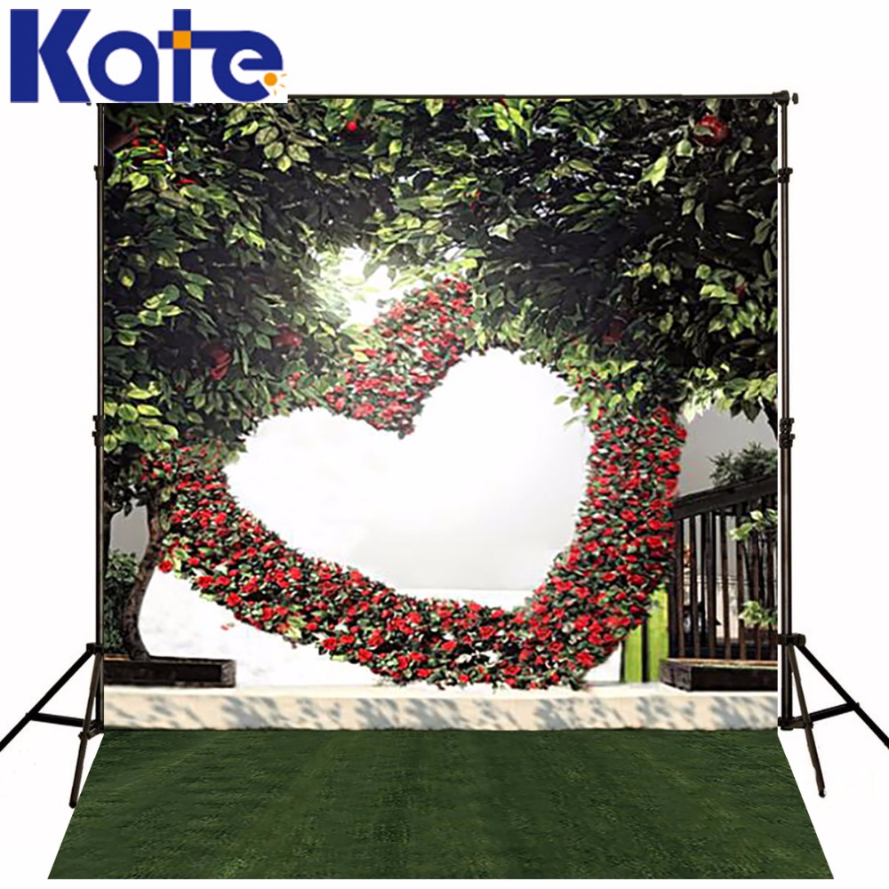 KATE Valentine'S Day  Backdrop Photography Background Spring Flower Love and Green Grassland Backdrops Outdoor Wedding Backdrops 8x10ft valentine s day photography pink love heart shape adult portrait backdrop d 7324