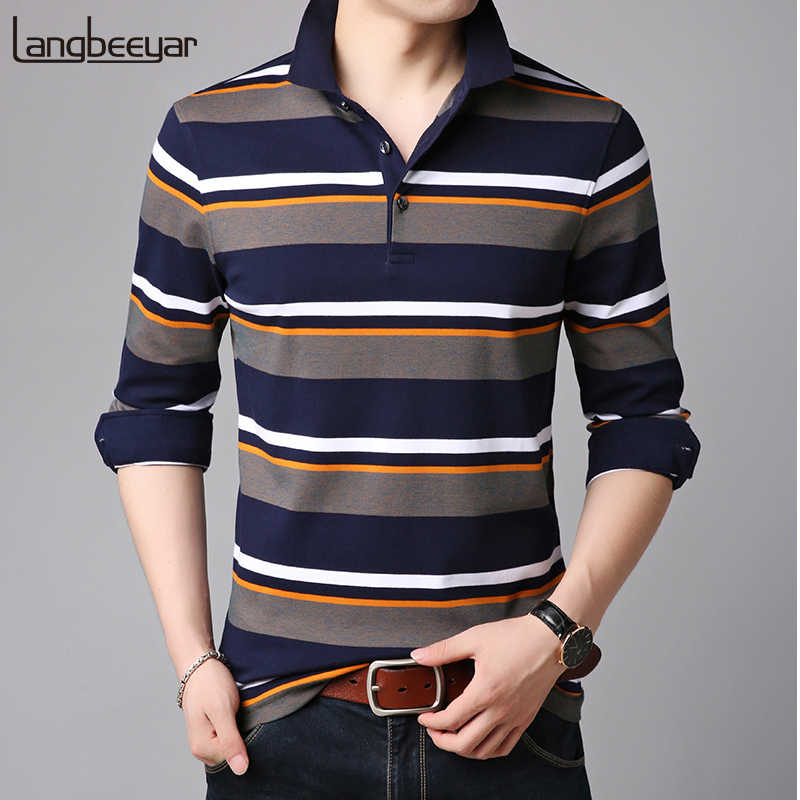 9c04409b4cc 2019 New Fashion Brands Polo Shirts Men Striped Brands Designer Slim Fit  Long Sleeve Cotton Boy