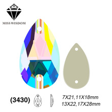 2018 Նոր ապրանքատեսակ բարձրորակ բնակարան ապակուց կրկնակի փոս կարի վրա rhinestones Կաթիլային ձև AB գույնի պարագաներ