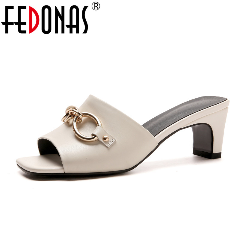 FEDONAS 2018 Women Genuine Leather Shoes Sandals High Heel Summer Chains Punk Sandals Ladies Gladiator Sandals Casual Shoes women gladiator sandals gold chains slip on high heel slippers shoes