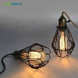 Laingderfu ferro gaiola lâmpada de arame do vintage diy industrial abajur lâmpada gaiola para o quarto sala jantar preto nordic capa da lâmpada