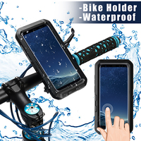 LEORY AntiShock Bicycle Phone Holder Case IPX8 Waterproof Motorcycle Handlebar Phone Bag Case Front Frame for Samsung S8/S9 Plus