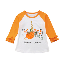 4cbc6f3e7 Adorable Halloween Kids Baby Boy Girl Cotton Pumpkin Unicorn Print Tops  Floral Long Sleeve Unisex T