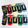 1Pair Fashion Women/Men Cotton  Low Cut Socks  Tie Pattern Fun
