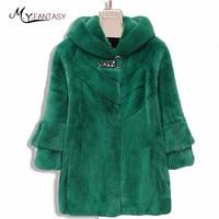 M.Y.FANSTY 2017 Shuba Winter Women's Green Fur Mink Coat Hat Real Fur Coat Three Quarter Diamonds With Fur Hood Long Mink Coats