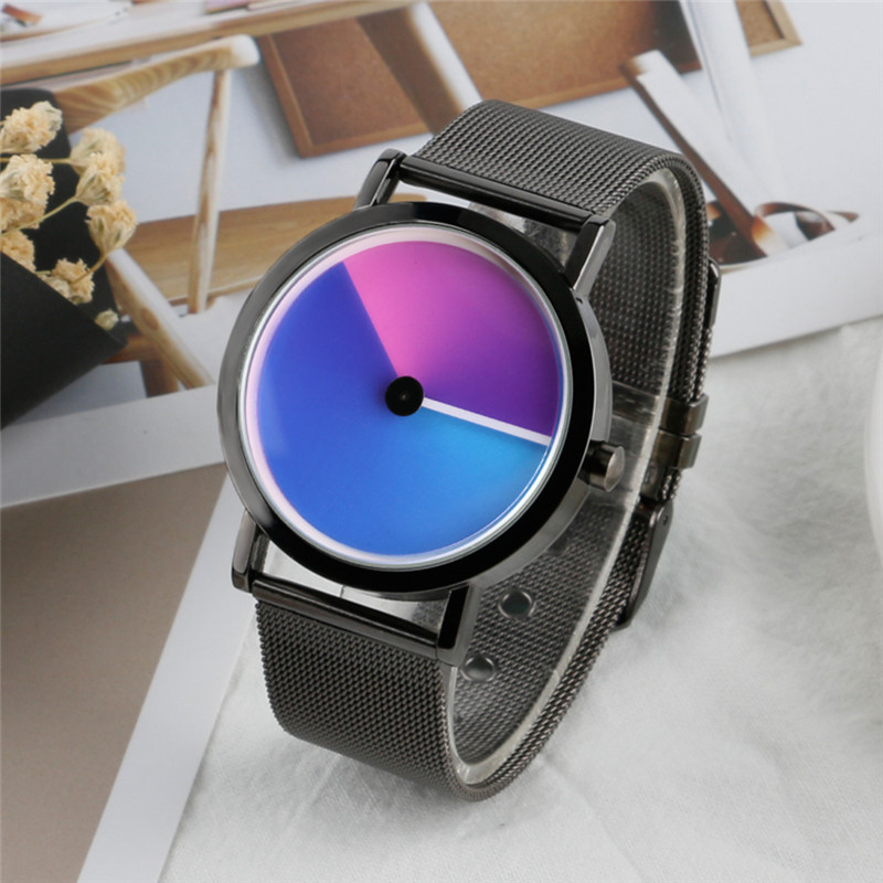 Elegant Fashion Women Watches Stainless Steel Strap Female Gradual Color Dial Business Quartz Creative Ladies Watch Girl Gift 2017 new gift enmex hit color steel frabic strap creative dial changing patterns simple fashion for young peoples quartz watches