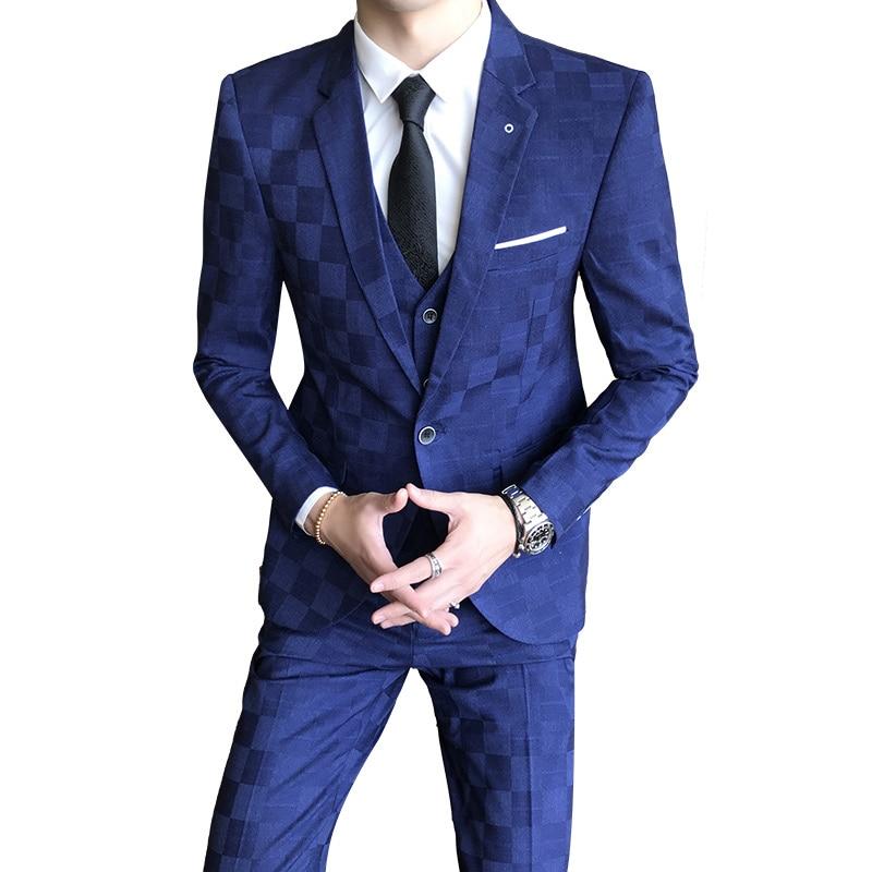 Mannen Formele Pak 3 Delige Set Business Bruiloft Mannelijke Grid Suits Jassen met Vest en Broek Slanke Elegante man Sets-in Pakken van Mannenkleding op  Groep 1