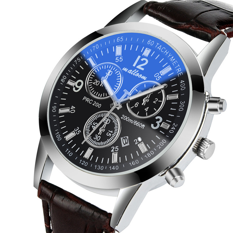 2017Watches Stainless steel Faux Leather Watches Mens Blue Ray Glass Quartz Analog Date Watches2017 luxury brand blue shope 30% vik max adult kids dark blue leather figure skate shoes with aluminium alloy frame and stainless steel ice blade