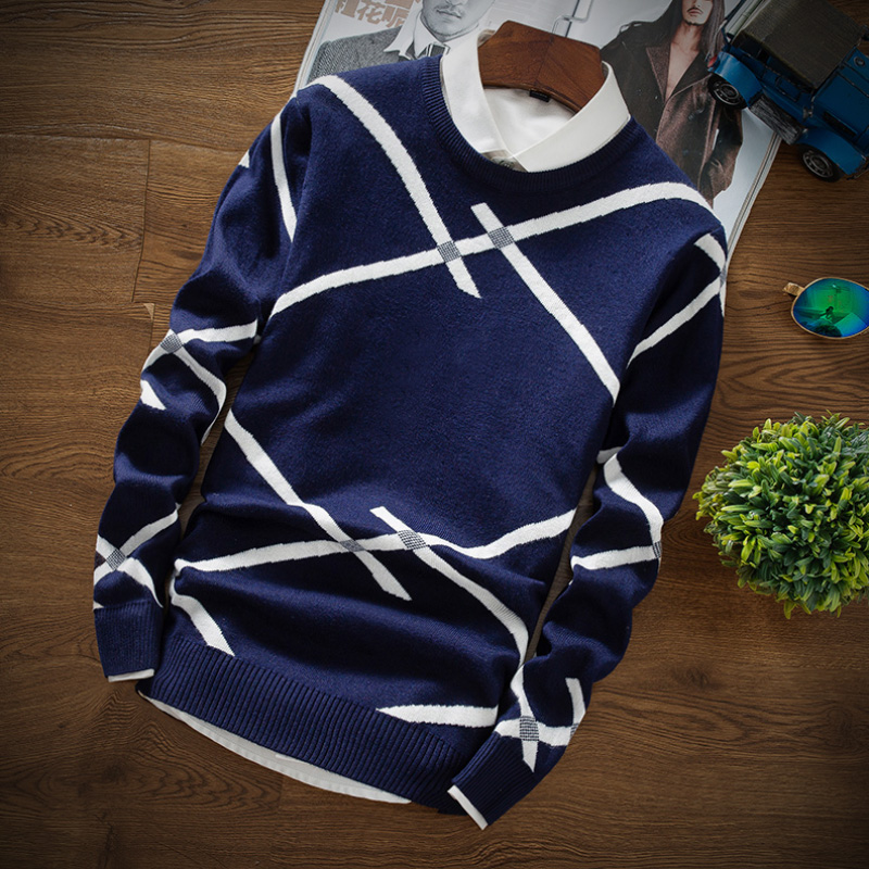 LEFT ROM Brand Casual Sweater O-Neck Striped Slim Fit Men Long Sleeve Patchwork Male Pollover Sweater Casual Thin Clothes Autumn