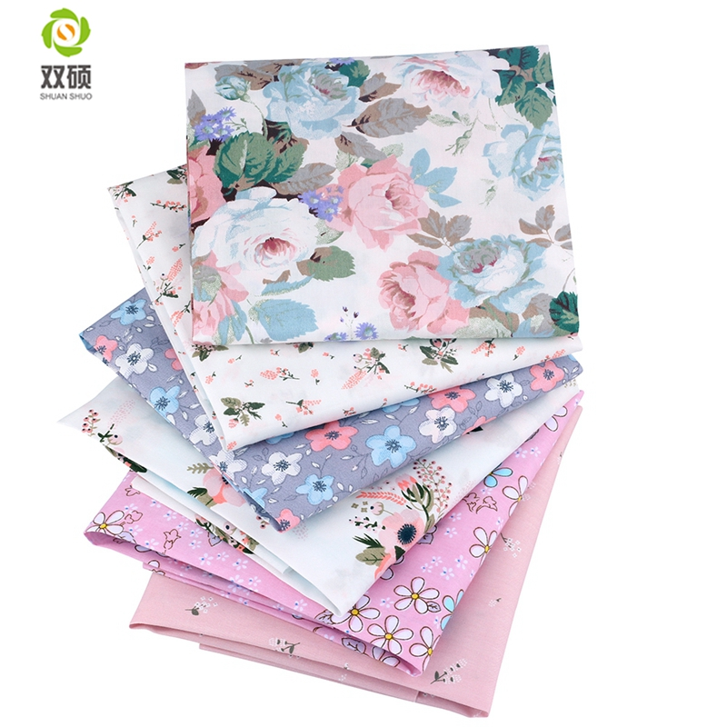 Shuanshuo Ny Blomsterserie Twill Cotton Fabric, Patchwork Cloth, DIY - Kunst, håndværk og syning