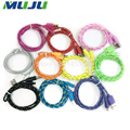 100pcs/lot 1M/3FT Nylon Fabric Braided Micro USB 5pin Cable Data Sync Charge for Samsung HUAWEI MI HTC LG Panasonic Smartphone