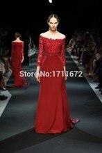 2016 mode kleid sexy red mermaid schulter abendkleid spitze applique 3/4 hülsenlänge ballkleid tod YU74 vestido DE