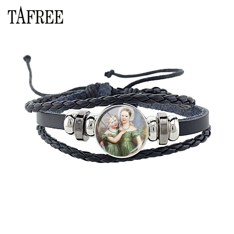 TAFREE PU Leather Two Sisters Painting Charm Bracelet Glass Cabochon Chain Bangles For Friends Gift ST108