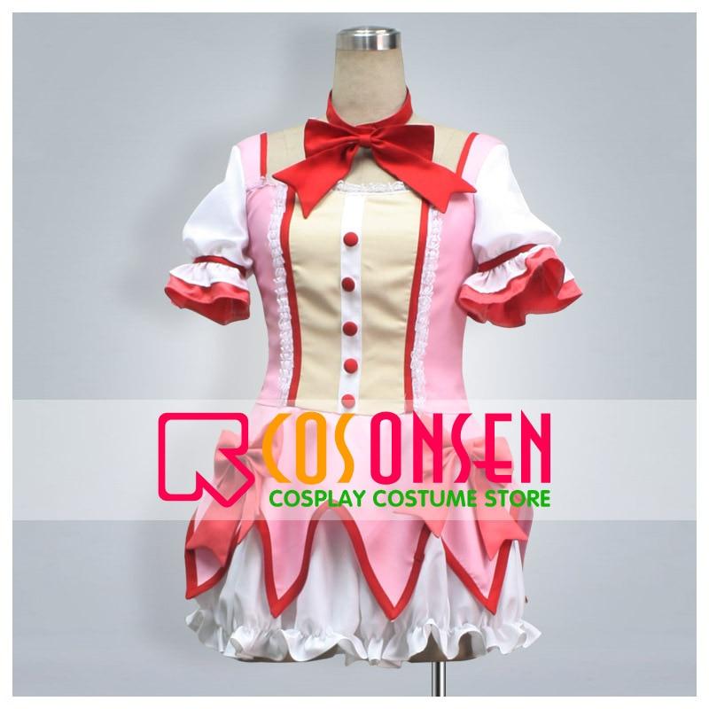 COSPLAYONSEN Puella Magi Madoka Magica Kaname Madoka Cosplay Costume Pink White Dress Any Size