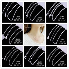 Big Promotion Wholesale 925 stamped silver plated fashion jewelry SILVER Snake/Box/Bead/Rope Chain Necklace 16 18 20 22 24 INCHE(China)