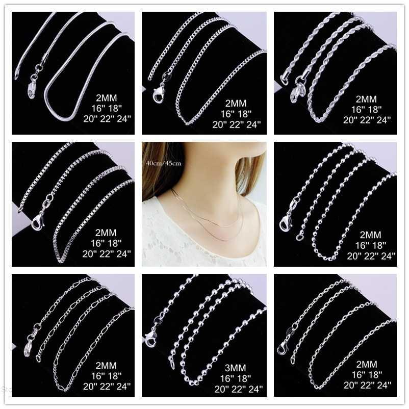 Khuyến Mãi lớn Sỉ 925 đóng dấu mạ bạc thời trang trang sức BẠC Loài Rắn/Hộp/Hạt/Chuỗi Dây Vòng Cổ 16 18 20 22 24 INCHE