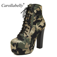2016 New Women Autumn Boots High Heels Platform Military Boots Green Color Botines Mujer Plataforma Martin