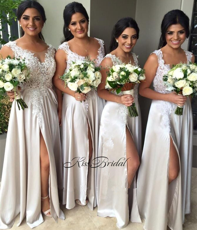 New 2017   Bridesmaid     Dresses   Long Scoop Neck Sleeveless Side Slit A-line Floor Length Appliques Chiffon Prom   Dresses
