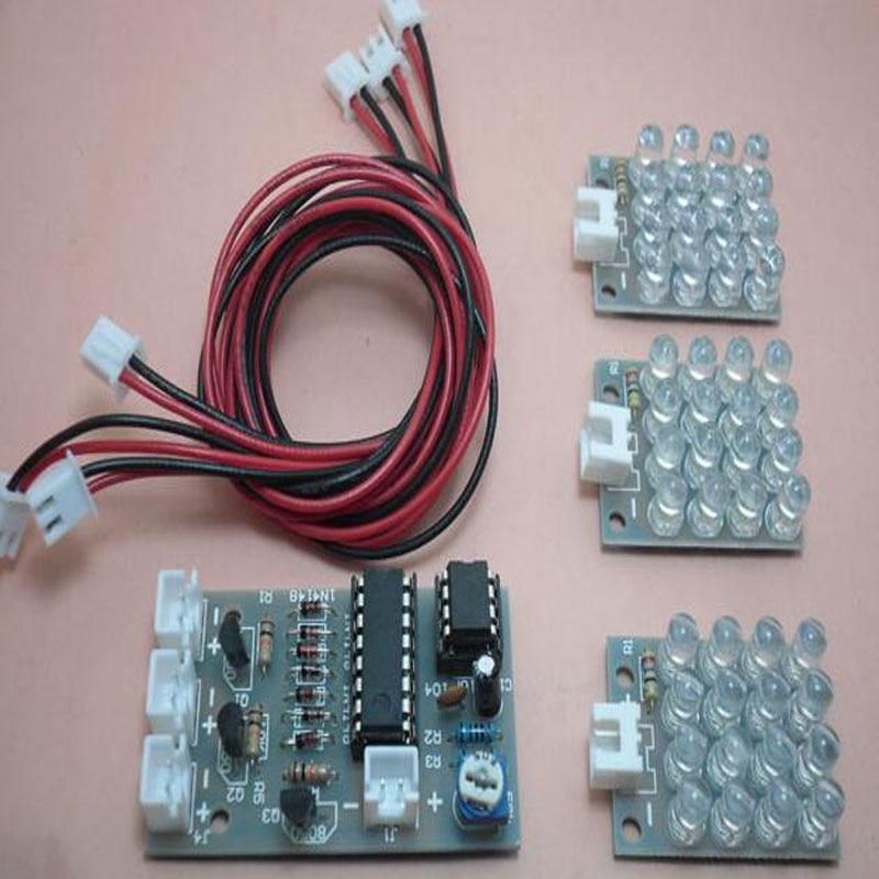 New CD4017 NE555 Detonation Flash Light 12V DIY Kit Electronic Circuit Kit