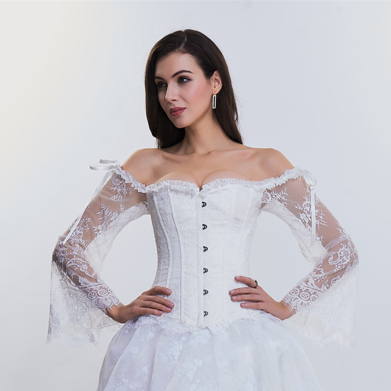 Steampunk   Corset     Bustier   Gothic Corselet Sexy Long Sleeve Lace Corselet Lace Up   Bustiers     Corset   White   Corset   for Party Wedding