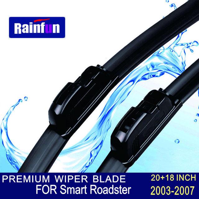 """Rainfun u-gancho tamanho: 20 """"+ 18"""" apto para smart roadster (2003-2007) alta qualidade limpa limpador limpadores de lâmina essuie glace"""