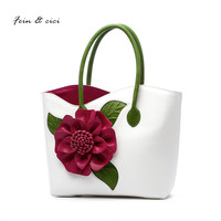Floral Totes Handbag Women Appliques Flower Shoulder Bag Summer 2017 Shopping Bag White Green Red Purple