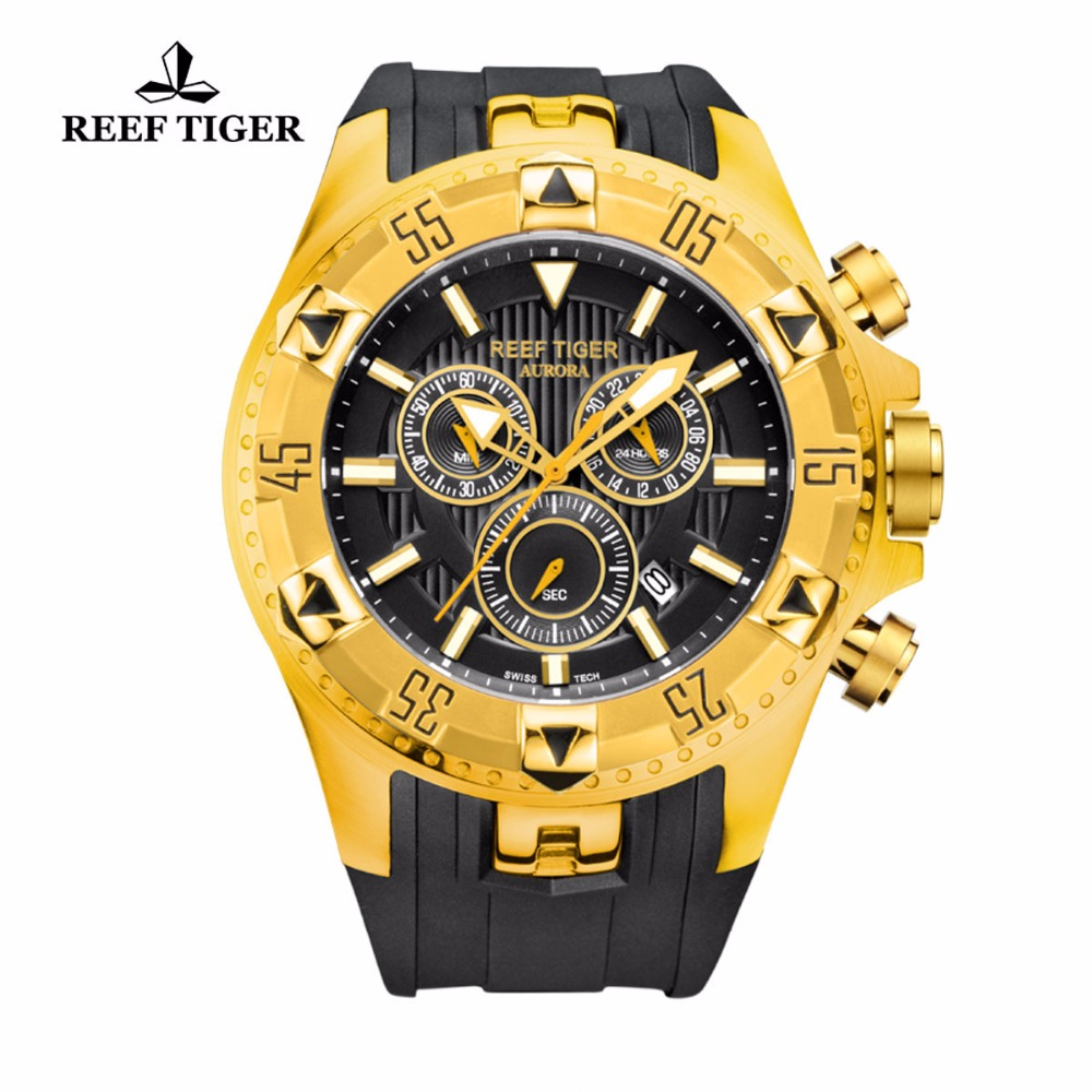 Reef Tiger/RT Chronograph Sport Watch for Men Blue Dial Yellow Gold Rubber Strap Quartz Watches RGA303 yn e3 rt ttl radio trigger speedlite transmitter as st e3 rt for canon 600ex rt new arrival