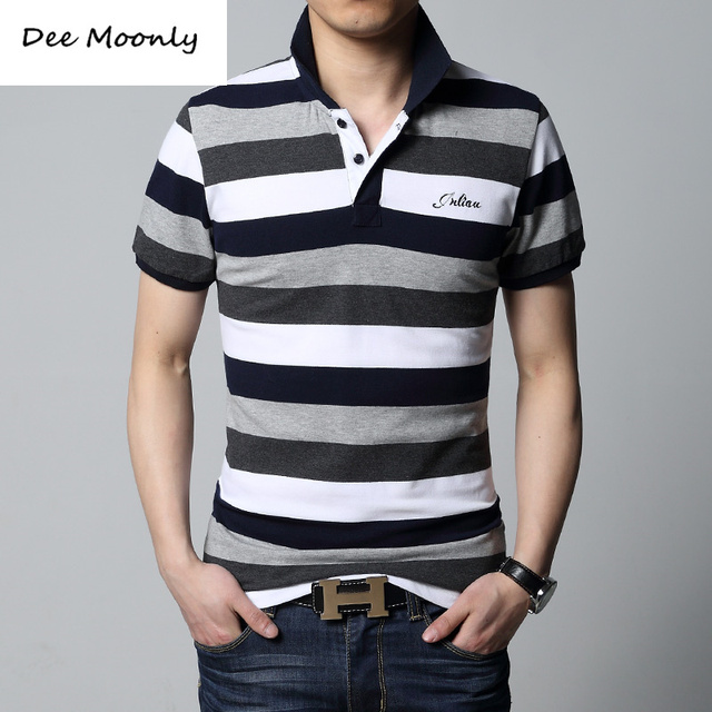 DEE MOONLY 2017 Summer Short Sleeve Mens Polos Homme Turn Down Collar Tops Cotton Brand Men Grey Striped Plain Solid Clothing
