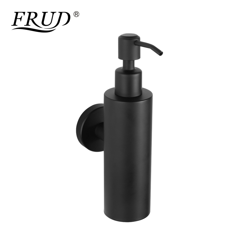 Us 21 11 54 Off Frud New Liquid Hand Soap Dispenser Stainless Steel Wall Mounted Circular Black Simple Bathroom Hardware Fixation Y18005 In