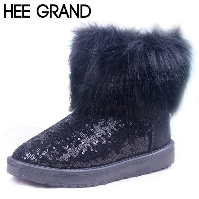 HEE grande Pele De Pelúcia Quente Botas De Neve Brilho Que Bling de Lantejoulas das Mulheres Tornozelo Moda Botas de Inverno Sapatos de Algodão Para A Mulher XWX2902