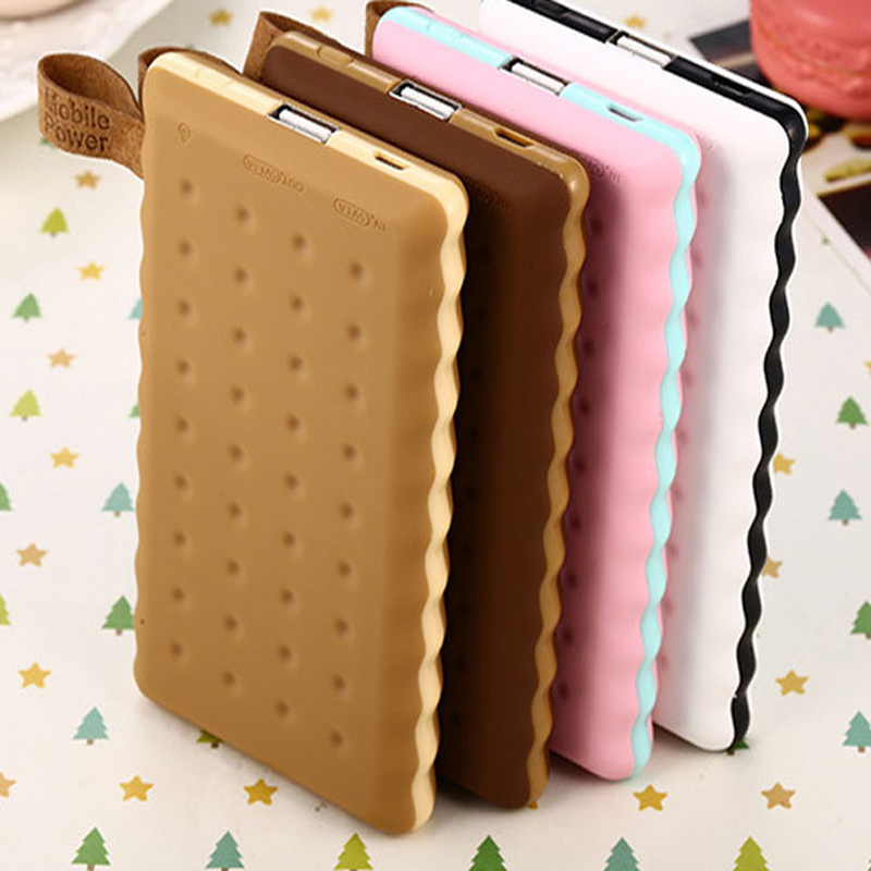 SA18 4 Colors Cute 12000mAh Cookie Power Bank Portable External Battery Backup Charger Birthday Gift Universal For Mobile Phones