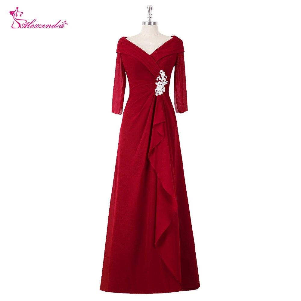 Alexzendra Burgundy A Line V Neck Chiffon Mother of Bride Dress with Sleeves Pleats Long Evening