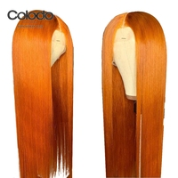 Colodo Orange Human Hair Wig Peruvian Brown Straight Lace Front Wigs With Baby Hair Yellow Ombre Lace Wigs for Women Remy Hair