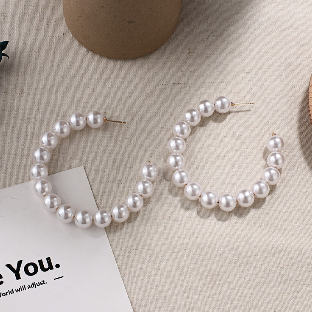 HTB1TBu8U8LoK1RjSZFuq6xn0XXaf - New Boho White Imitation Pearl Round Circle Hoop Earrings Women Gold Color Big Earings Korean Jewelry Brincos Statement Earrings