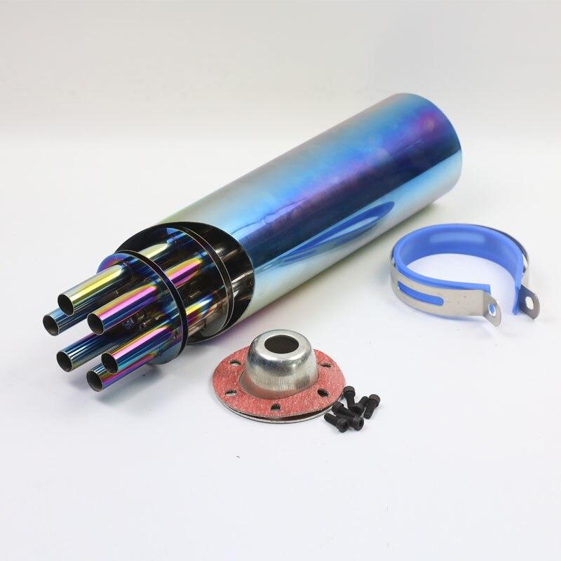 Универсальный изменения мотоцикл Выхлопная труба пушки Гатлинга Стиль для Honda Kawasaki Yamaha KTM Ducati ATV
