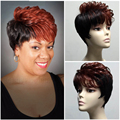 2016 Cheap fashion Synthetic Short Wigs For African American Ombre Kanekalon Fiber Ombre Burgunde and Brown Short hair wig