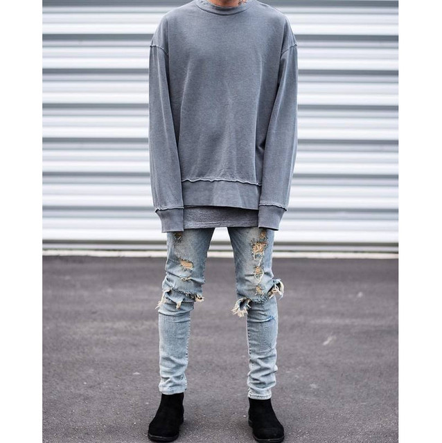 2cc5e4b094 US $65.99 |ripped jeans for men skinny Distressed slim famous brand  designer biker hip hop swag tyga hype white black slim jeans kanye west-in  Jeans ...
